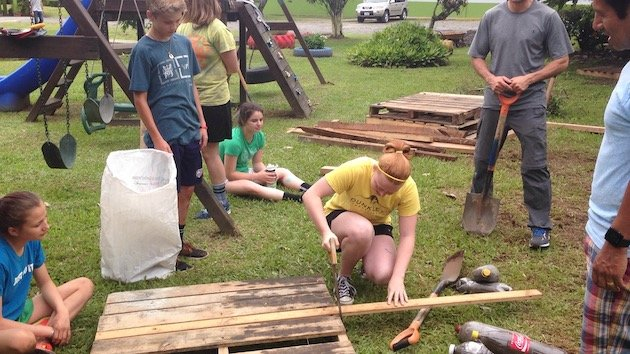 girl scout doing community service project in costa rica