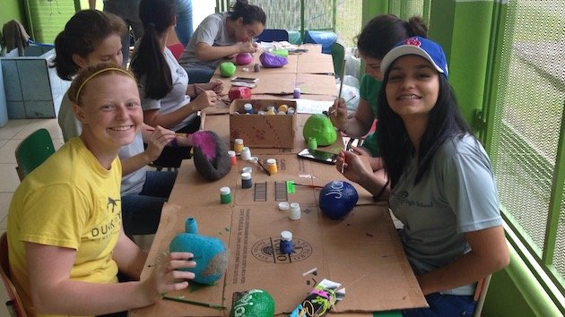 girl scouts doing school project in costa rica